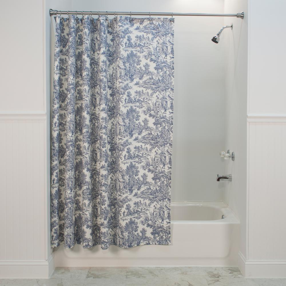 Bathroom Shower Curtain Victoria Park Toile 72 In L Blue Shower Curtain