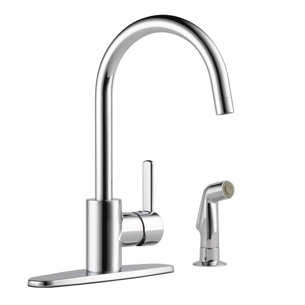 chrome kitchen faucet john boos cart peerless apex single handle standard with side sprayer in