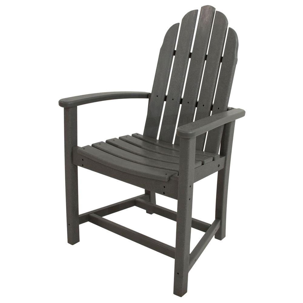 Dining Chair Dimensions Polywood Classic Slate Grey Adirondack All Weather Plastic Outdoor Dining Chair