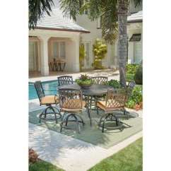 Outdoor Bar Table And Chairs Inexpensive High Height Patio Dining Sets Furniture The Home Depot Ridge Falls 7 Piece Aluminum Set With Sunbrella Cork Cushion Swivel Chair