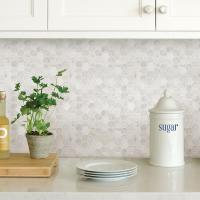 WallPOPs White Hexagon Marble Peel Stick Backsplash Tiles ...