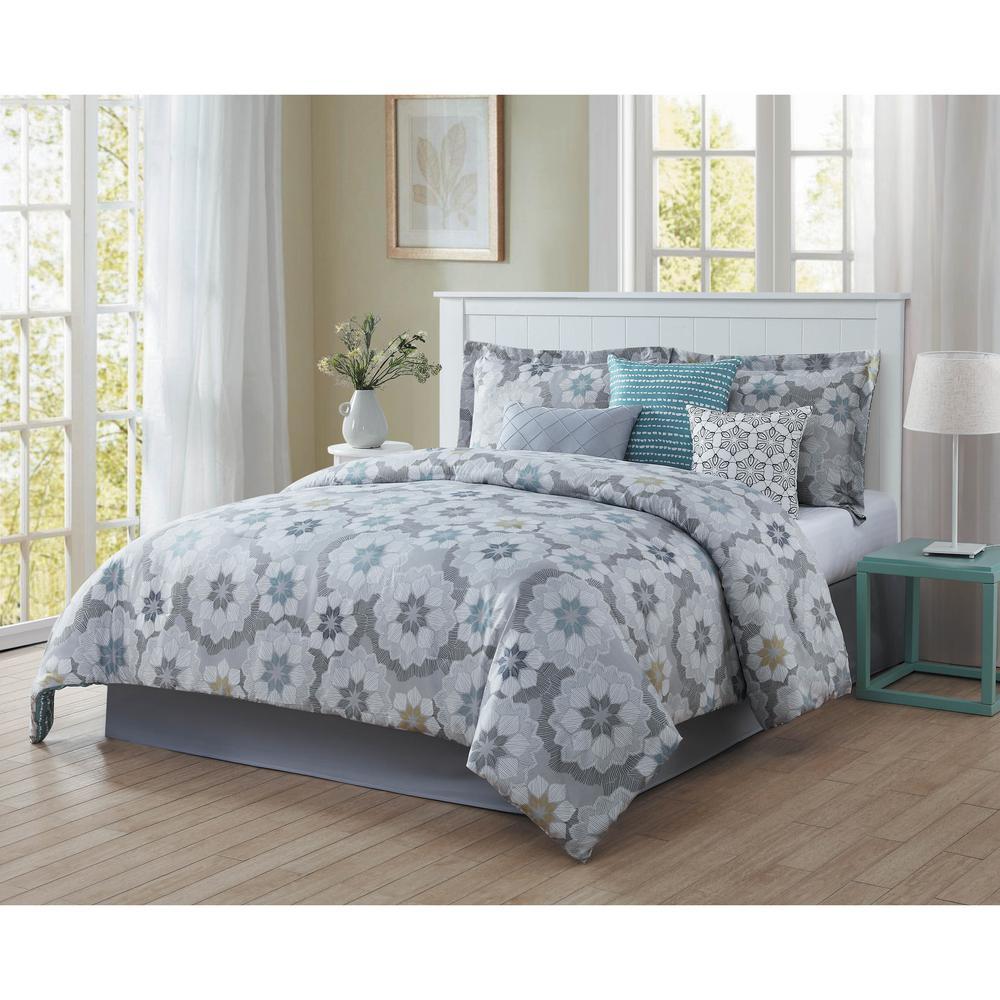unbranded splendid 7 piece blue grey white black gold king comforter set ymz008011 the home depot