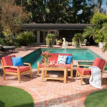 Noble House 4-piece Wood Patio Conversation Set With Red
