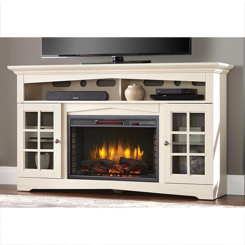 Home Decorators Collection Avondale Grove 59 in TV Stand Infrared Electric Fireplace in Aged