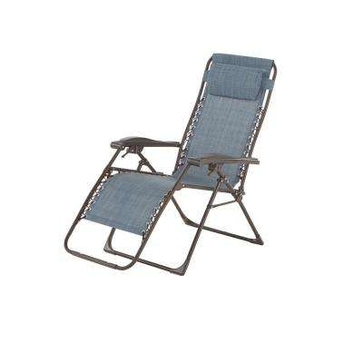 folding outdoor lounge chair that converts to single bed chairs patio the home depot mix and match zero gravity sling chaise in denim