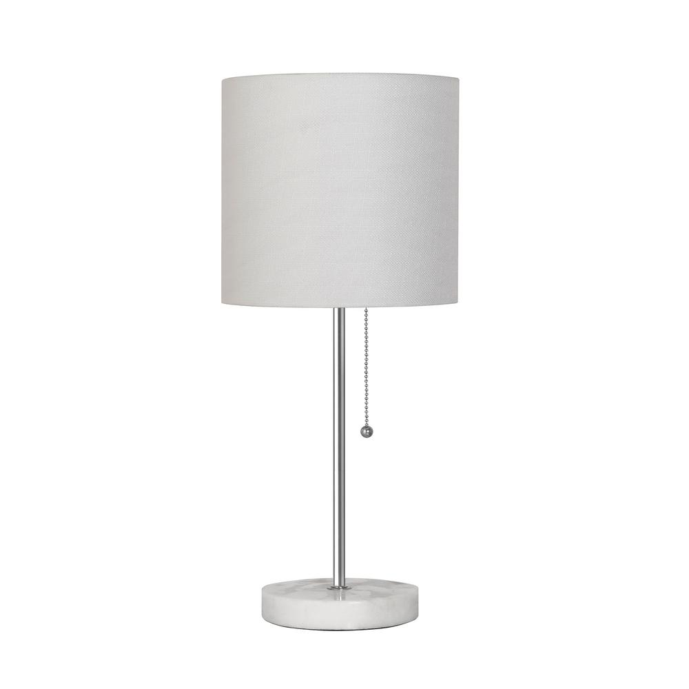Limelights 19.5 in. Brushed Steel Stick Table Lamp with
