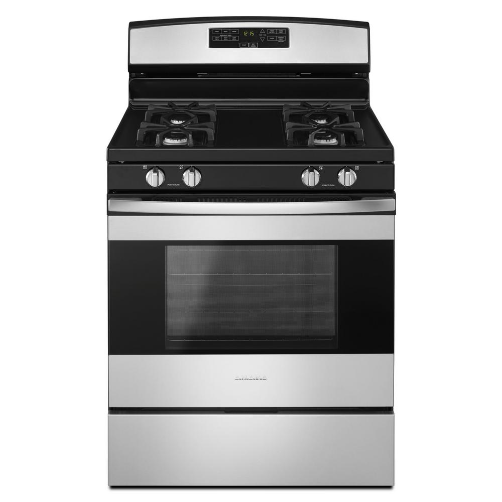 hight resolution of amana 30 in 5 0 cu ft gas range in stainless steel