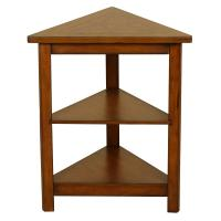 Walnut Triangle Side Table-4282 - The Home Depot