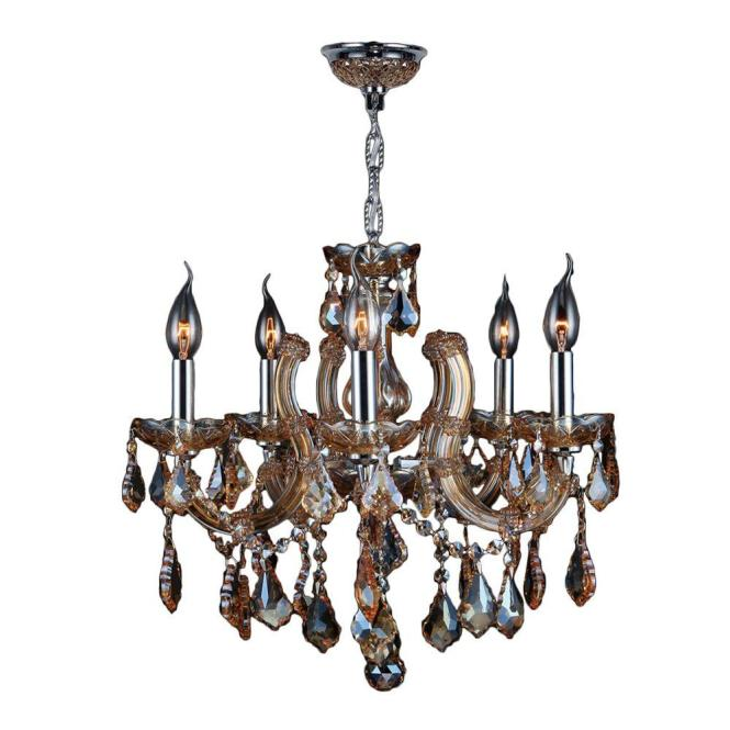 Worldwide Lighting Catherine Collection 5 Light Chrome With Amber Crystal Chandelier
