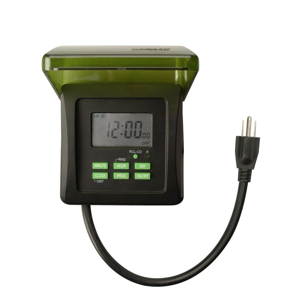 hight resolution of woods 15 amp 7 day outdoor plug in heavy duty dual outlet digital rh homedepot com electric timers for pool pumps irrigation pump timers