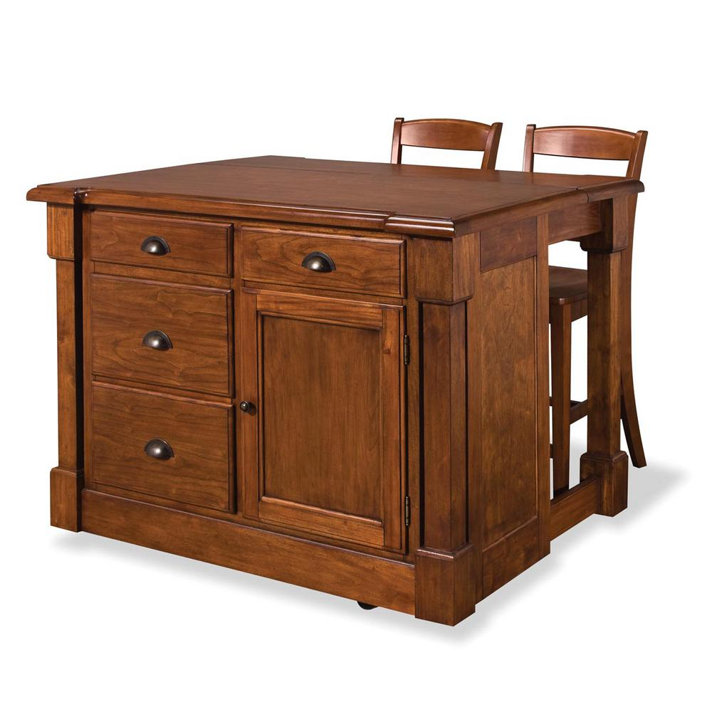 kitchen island sets remodels home styles aspen rustic cherry with seating 5520 949 the depot