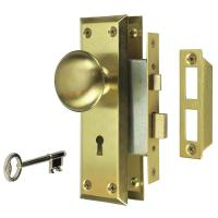 Defiant 2 in. Satin Brass Victorian Door Knob Mortise Lock ...