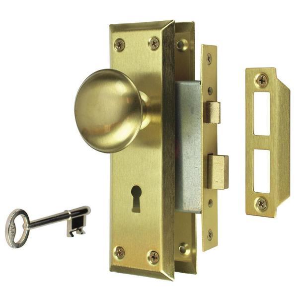 Defiant 2 In. Satin Brass Victorian Door Knob Mortise Lock Set-70422 - Home Depot