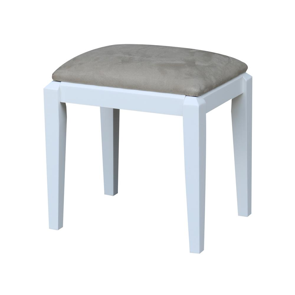 White Vanity Bench Chair Microfiber Seat Solid Wood