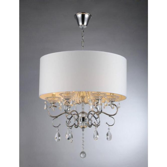 Warehouse Of Tiffany Camilla 6 Light Chrome Crystal Chandelier With Fabric Shade Rl9270 The Home Depot