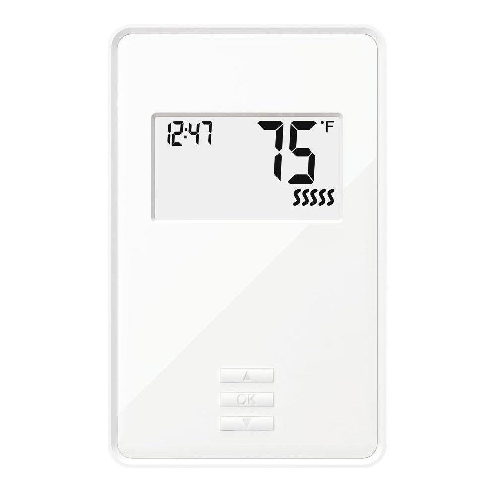 hight resolution of digital non programmable thermostat with built in gfci
