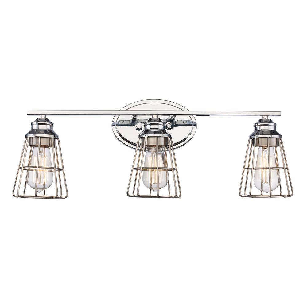 Bel Air Lighting 3 Light Polished Chrome Vanity Light with