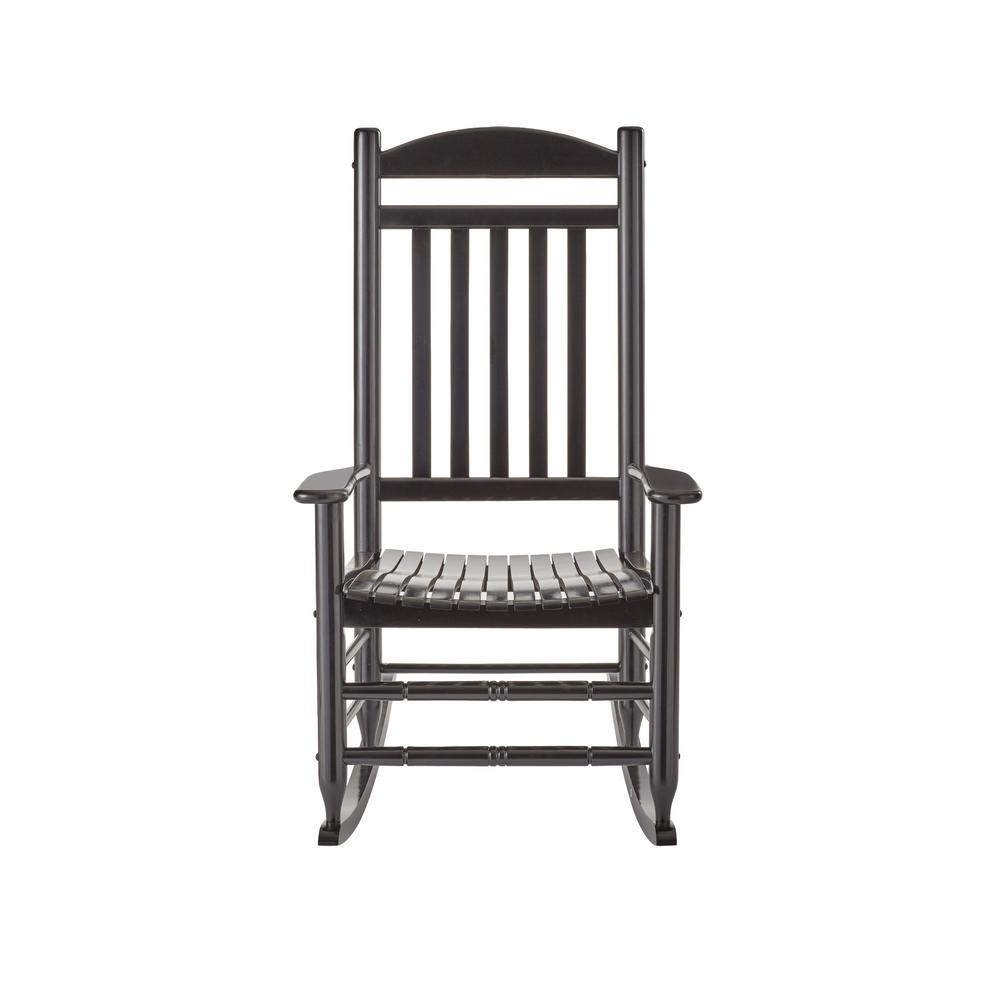 Black Wood Outdoor Rocking ChairIT130828B  The Home Depot