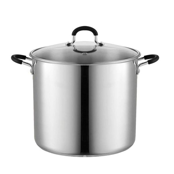 Stainless Steel Stock Pot Saucepot 12 Qt Durable Aluminum Disc Layer Bottom 696543223589