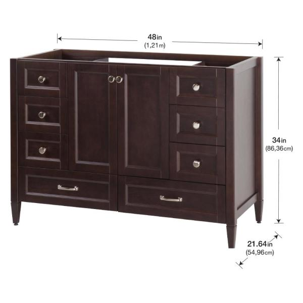 Home Decorators Collection Claxby 48 In W X 34 In H X 22 In D Bath Vanity Cabinet Only In Chocolate Srsd4821 Ch The Home Depot
