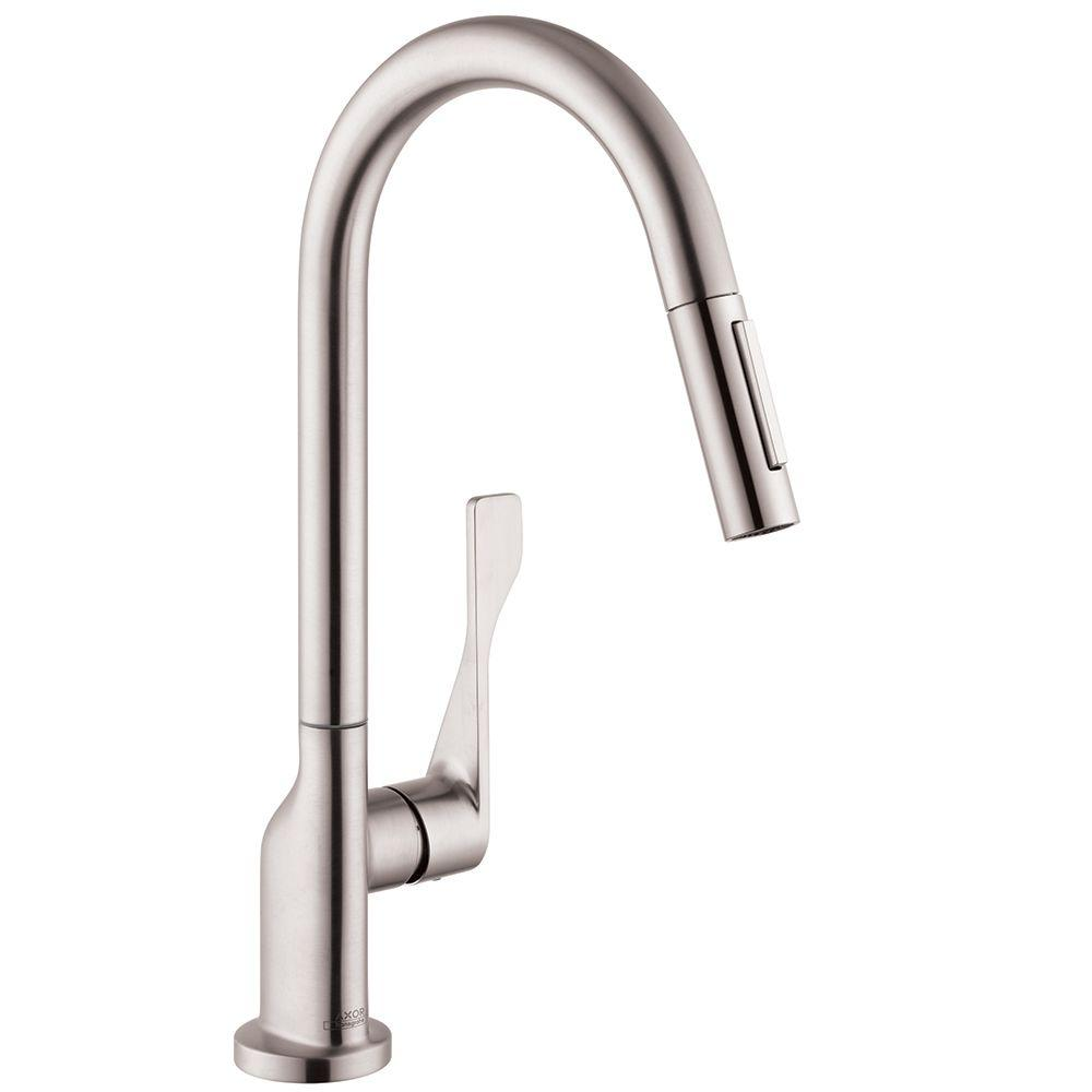hansgrohe kitchen faucet miami cabinets axor citterio single handle pull down sprayer in steel optik
