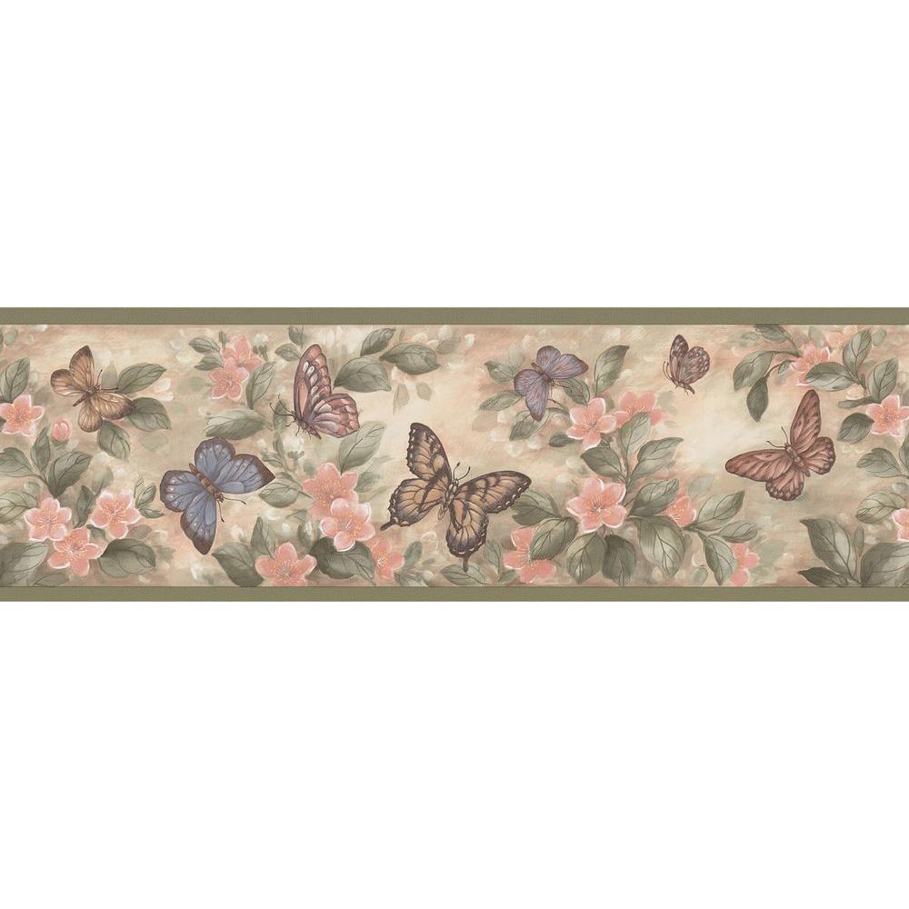 Brewster Pastel Butterflies Wallpaper Border Sample137B38634SAM  The Home Depot