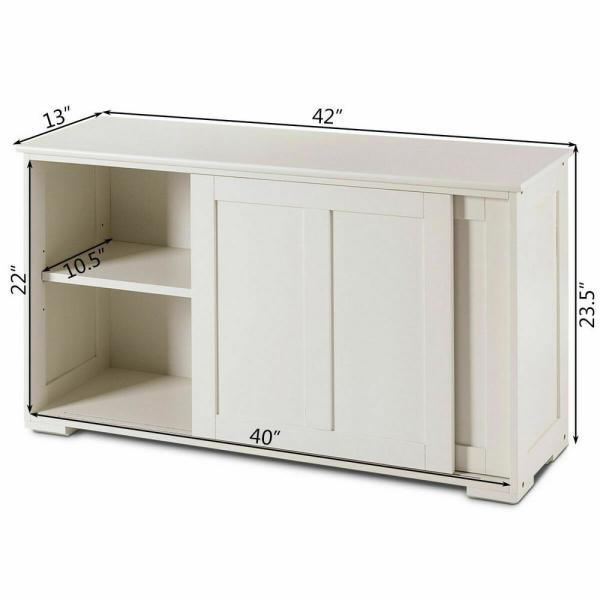 Costway Kitchen Ready To Assemble White Storage Cabinet 42 In L X 13 In W X 23 5 In H Buffet Cupboard Sliding Door Pantry Hw53868wh The Home Depot