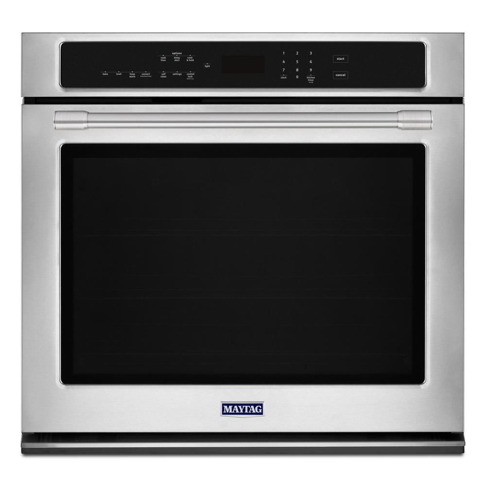 hight resolution of maytag 27 in single electric wall oven with true convection in fingerprint resistant stainless steel