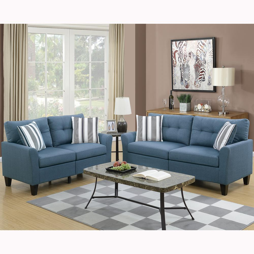 Venetian Worldwide Sardinia 2Piece Blue Sofa SetVENE