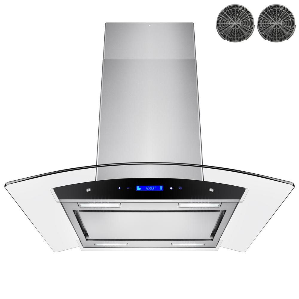 kitchen filter small eat in table akdy 30 convertible island mount range hood stainless steel with tempered glass