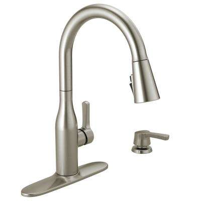 delta izak kitchen faucet oversized island 9 38 pull down faucets the home depot marca single handle sprayer with shieldspray technology and soap in