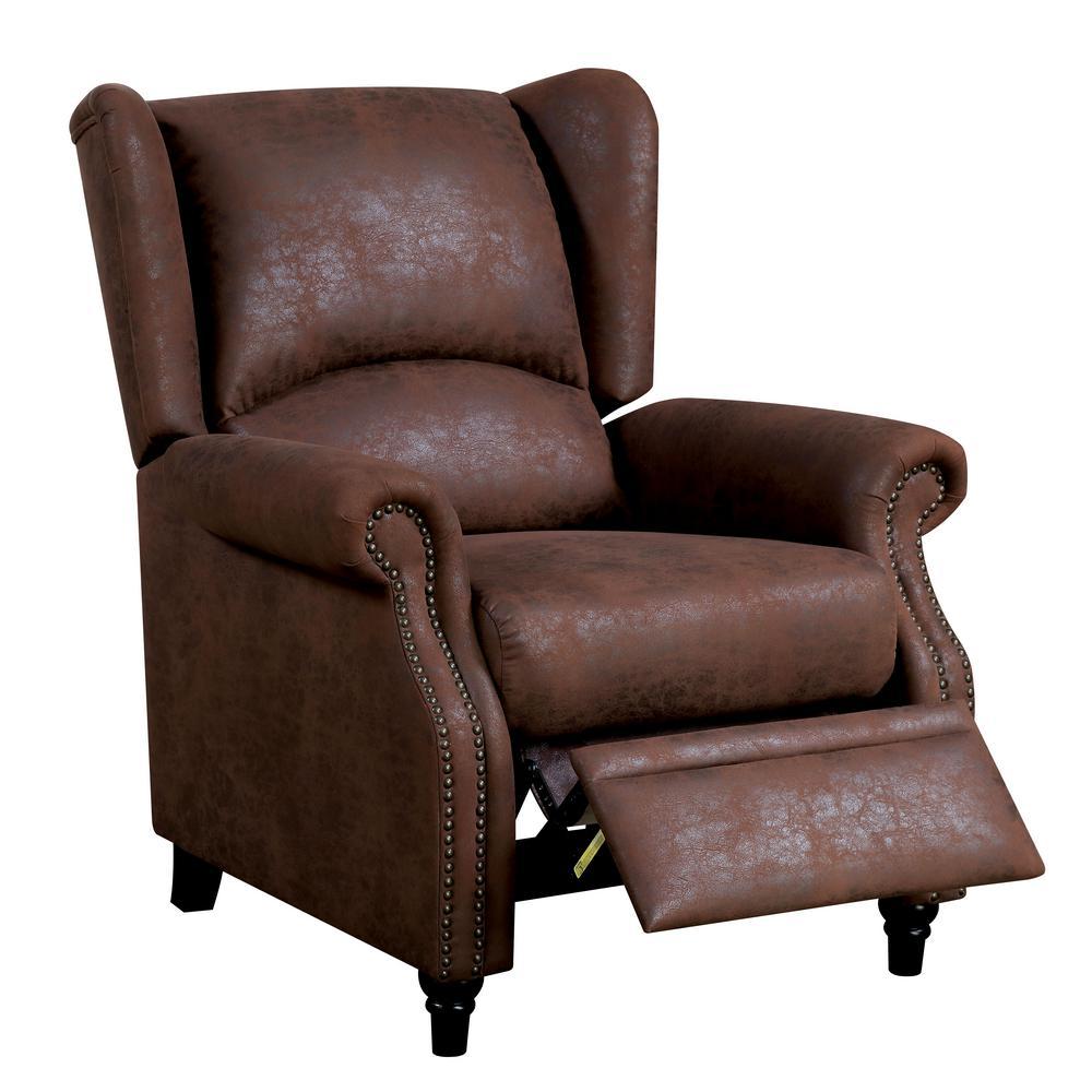 push back chair spray paint vinyl furniture of america marta brown wingback recliner
