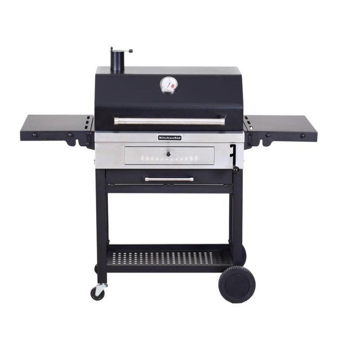 Cart-Style Charcoal Grill in Black with Foldable Side Shelves