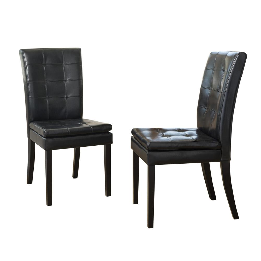 leather tufted dining chair cane repair noble house crayton black set of 2