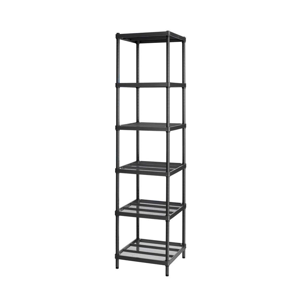 Design Ideas MeshWorks 6-Shelf Metal Black Freestanding