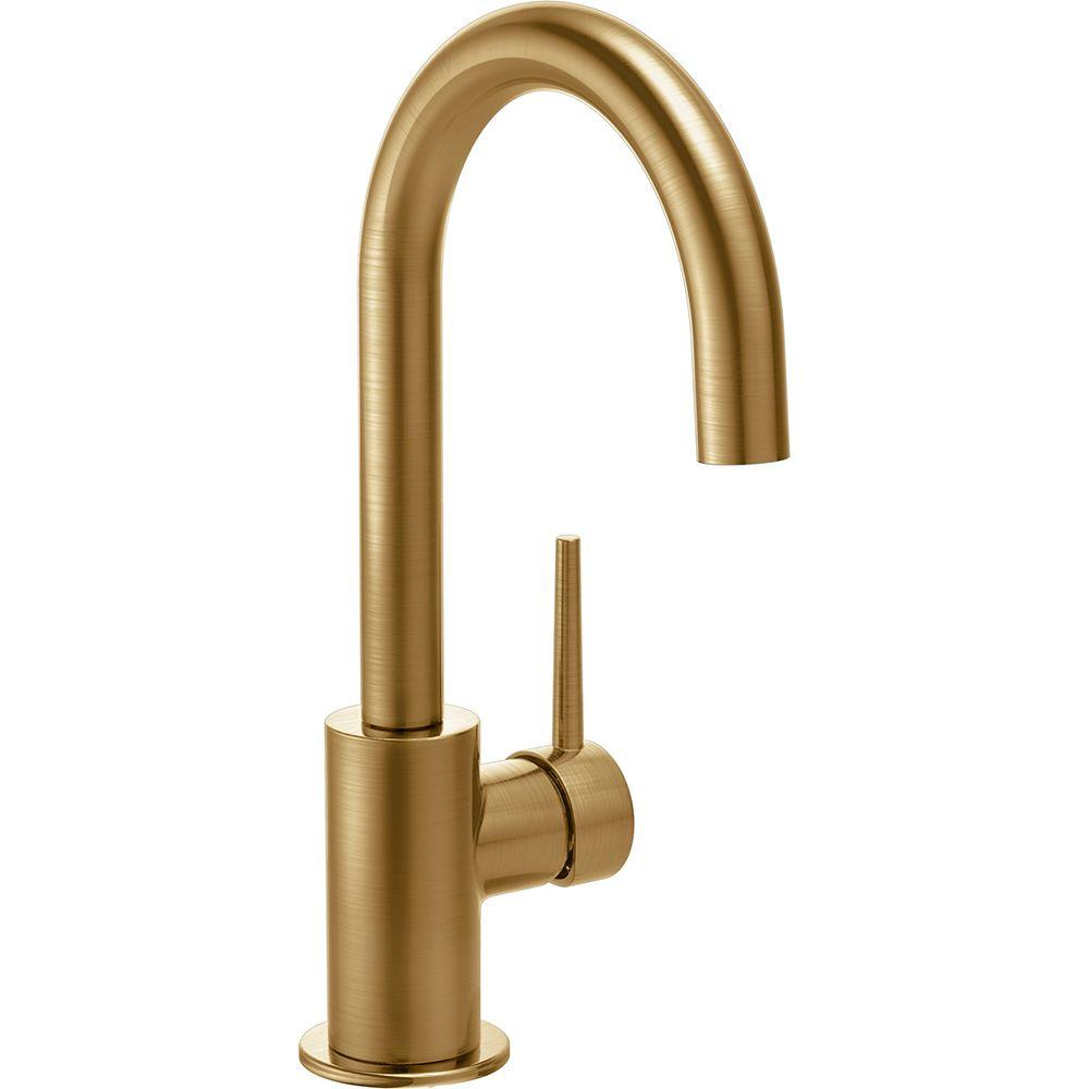 brass faucet kitchen commercial hood cleaning services delta faucets the home depot contemporary single handle bar in champagne bronze