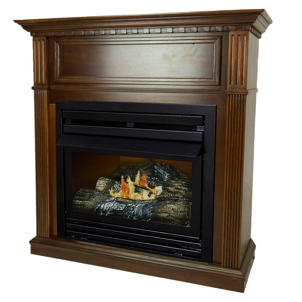 Pleasant Hearth 27500 BTU 42 in Convertible Ventless Propane Gas Fireplace in CherryVFF