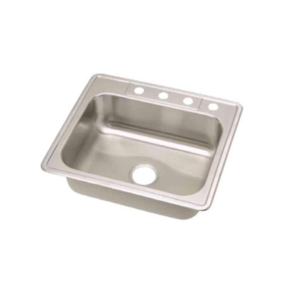 single bowl stainless kitchen sink white flat panel cabinets elkay dayton drop in steel 25 4 hole with 8