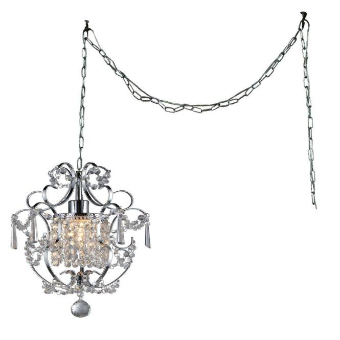Chrome Indoor Crystal Swag Chandelier With Shade