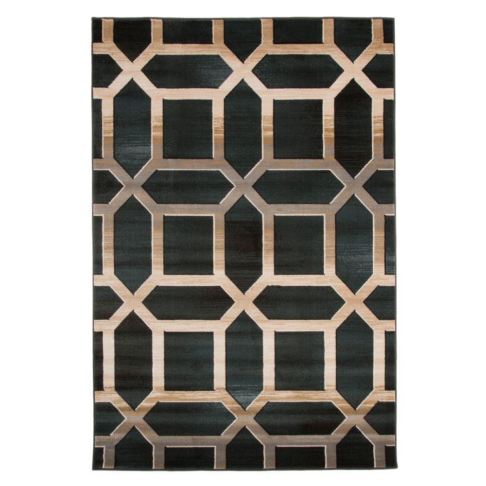 Lavish Home Opus Art Deco Teal 5 ft x 8 ft Area Rug62