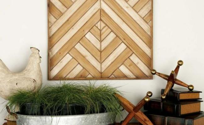 Litton Lane 24 In X 24 In Rustic Wooden Chevron And