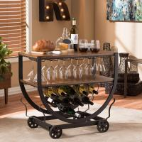 Baxton Studio Triesta Medium Brown and Bronze Wine Cart ...
