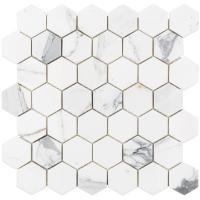 Splashback Tile Hexagon Calacatta Marble Mosaic - 3 in. x ...