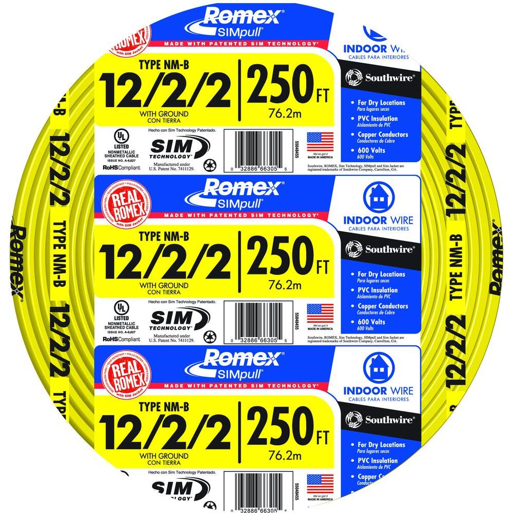 hight resolution of southwire 250 ft 12 2 2 solid romex simpull cu nm b w g wire 250 ft 12 2 2 solid simpull nmb wire55048455 the home depot
