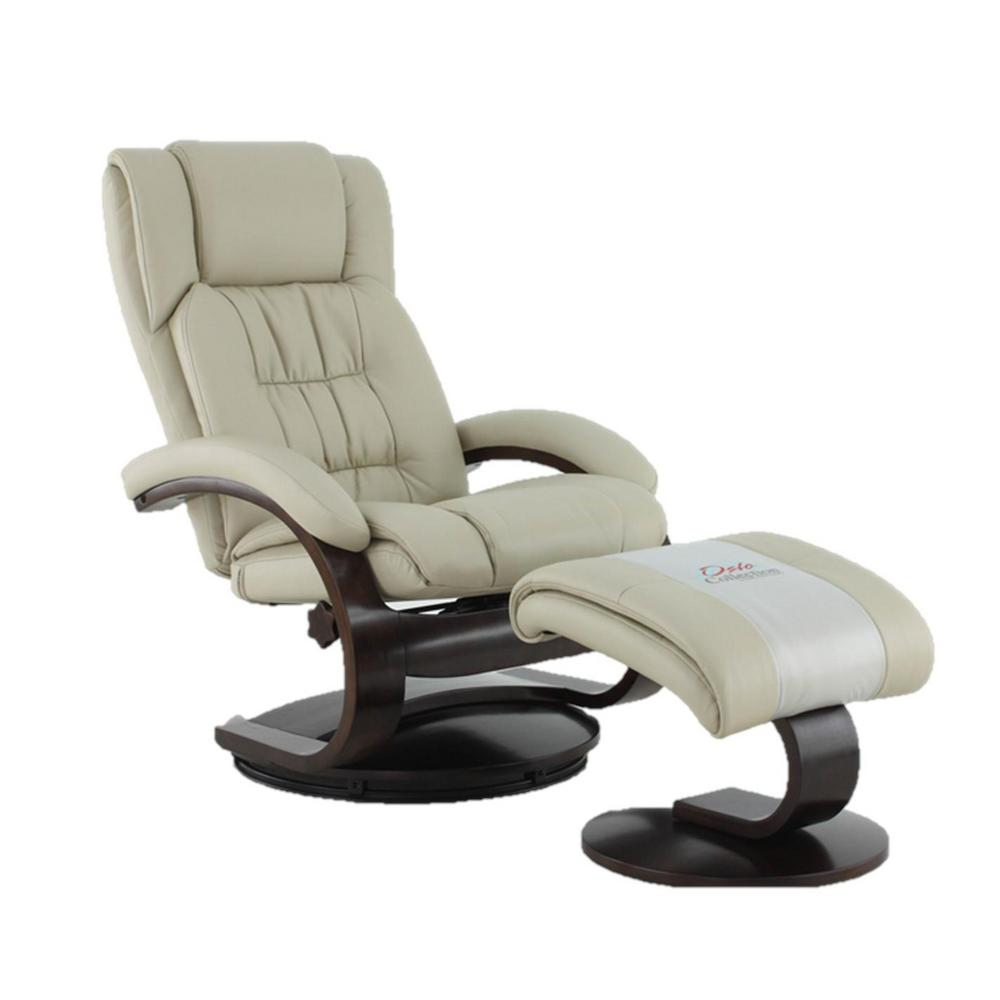 chairs that swivel and recline chair pad for bed sores mac motion oslo collection beige breathable air leather recliner with ottoman