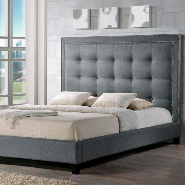Baxton Studio Hirst Transitional Gray Fabric Upholstered King Size Bed 28862 5290 Hd The Home Depot