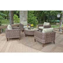Woodard Willow Springs 5-piece Woven Patio Chat Set With