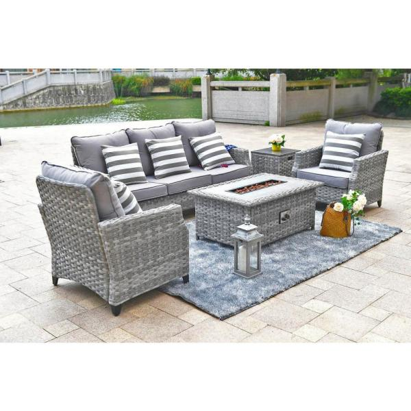 patio set with fire pit