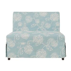 blue fl sofa cost of upholstery handy living nate floral armless settee with skirted slipcover nat3 lx flr52 the home depot