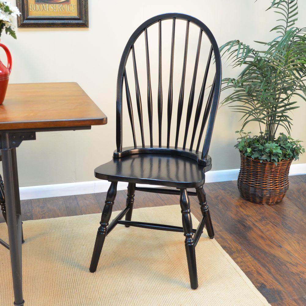 Carolina Cottage Black Wood Windsor Dining Chair1C53969